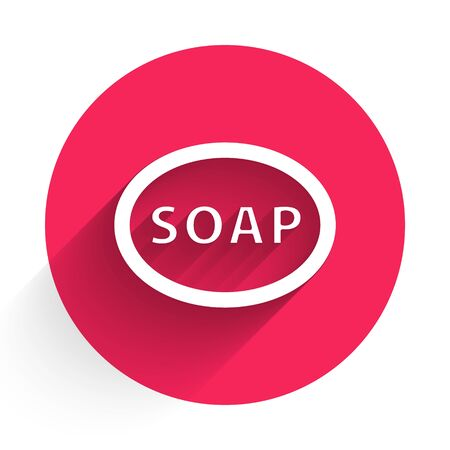 White Bar of soap icon isolated with long shadow. Soap bar with bubbles. Red circle button. Vector Illustration