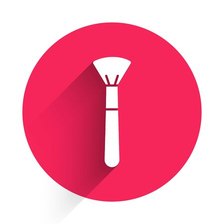 White Makeup brush icon isolated with long shadow. Red circle button. Vector Illustration