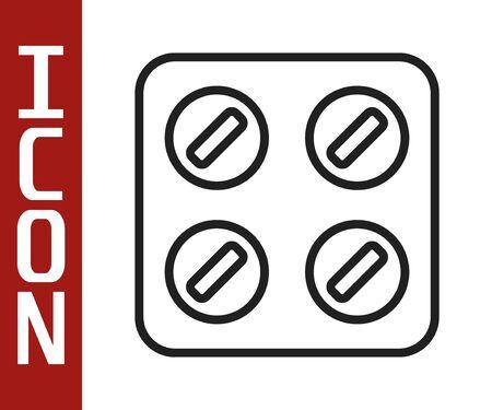 Black line Pills in blister pack icon isolated on white background. Medical drug package for tablet, vitamin, antibiotic, aspirin. Vector Illustration