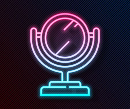 Glowing neon line Round makeup mirror icon isolated on black background. Vector Illustration