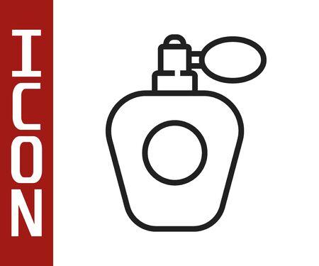 Black line Perfume icon isolated on white background. Vector Illustration