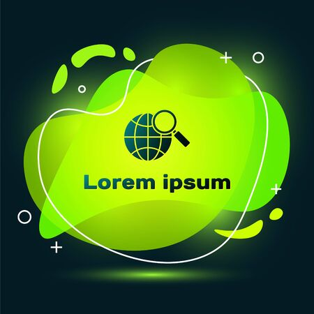 Black Magnifying glass with globe icon isolated on black background. Analyzing the world. Global search sign. Abstract banner with liquid shapes. Vector Illustration