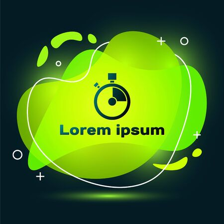 Black Fast time delivery icon isolated on black background. Timely service, stopwatch in motion, deadline concept, clock speed. Abstract banner with liquid shapes. Vector Illustration