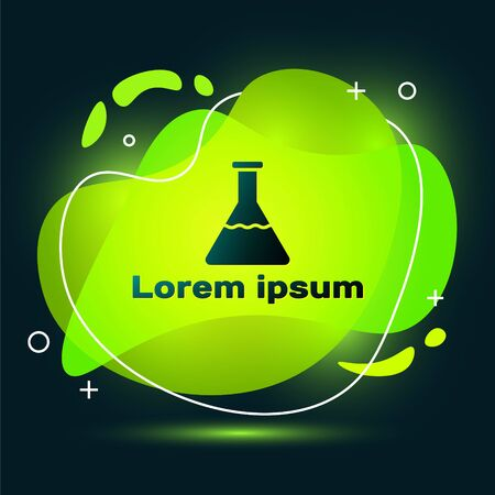 Black Test tube and flask chemical laboratory test icon isolated on black background. Laboratory glassware sign. Abstract banner with liquid shapes. Vector Illustration  イラスト・ベクター素材