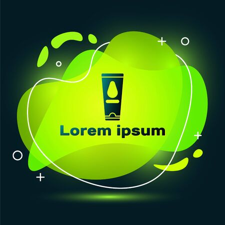 Black Personal lubricant icon isolated on black background. Lubricating gel. Cream for games. Tube with package box. Abstract banner with liquid shapes. Vector Illustration