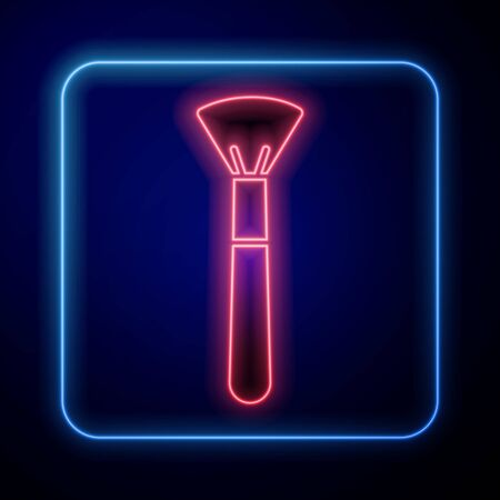 Glowing neon Makeup brush icon isolated on blue background. Vector Illustration