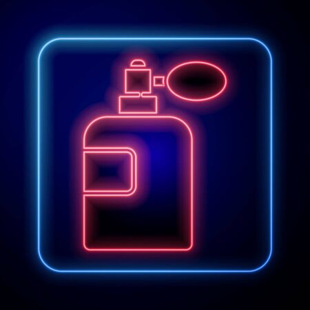 Glowing neon Perfume icon isolated on blue background. Vector Illustration Illustration