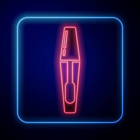Glowing neon Mascara brush icon isolated on blue background. Vector Illustration 矢量图像