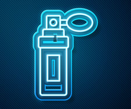 Glowing neon line Perfume icon isolated on blue background. Vector Illustration