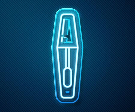 Glowing neon line Mascara brush icon isolated on blue background. Vector Illustration