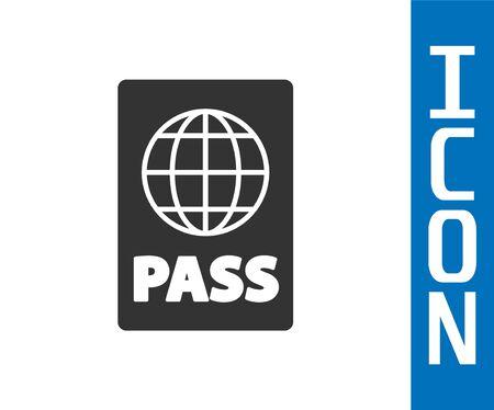 Grey Passport with biometric data icon isolated on white background. Identification Document. Vector Illustration Foto de archivo - 142555933