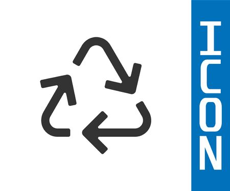 Grey Recycle symbol icon isolated on white background. Circular arrow icon. Environment recyclable go green. Vector Illustration