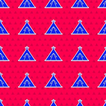 Blue Traditional indian teepee or wigwam icon isolated seamless pattern on red background. Indian tent.  Vector Illustration