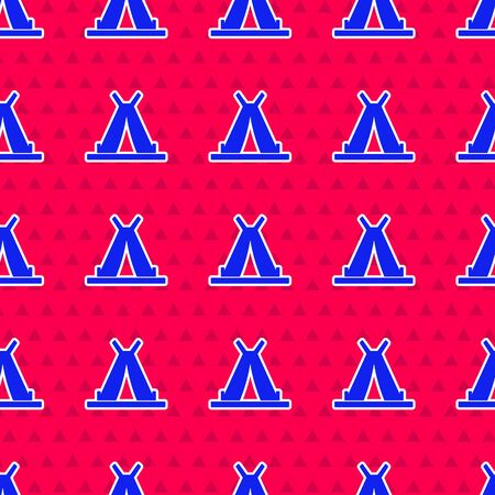 Blue Traditional indian teepee or wigwam icon isolated seamless pattern on red background. Indian tent. Vector Illustration Ilustração