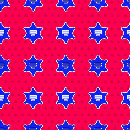 Blue Hexagram sheriff icon isolated seamless pattern on red background. Police badge icon. Vector Illustration