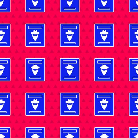 Blue Wanted western poster icon isolated seamless pattern on red background. Reward money. Dead or alive crime outlaw. Vector Illustration 矢量图像