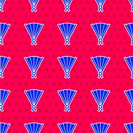 Blue Traditional paper chinese or japanese folding fan icon isolated seamless pattern on red background. Vector Illustration