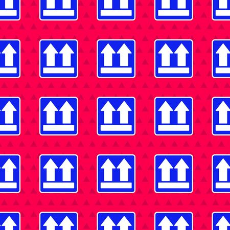 Blue This side up icon isolated seamless pattern on red background. Two arrows indicating top side of packaging. Cargo handled.  Vector Illustration