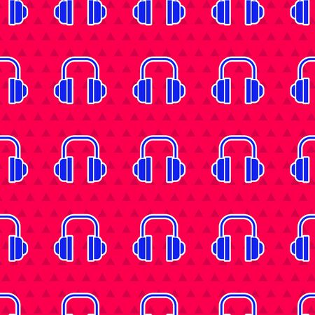 Blue Headphones icon isolated seamless pattern on red background. Support customer service, hotline, call center, faq, maintenance.  Vector Illustration Illustration