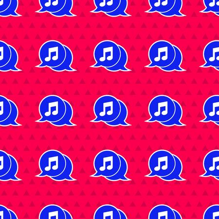 Blue Musical note in speech bubble icon isolated seamless pattern on red background. Music and sound concept.  Vector Illustration  イラスト・ベクター素材