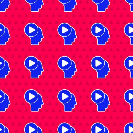 Blue Head people with play button icon isolated seamless pattern on red background.  Vector Illustration  イラスト・ベクター素材