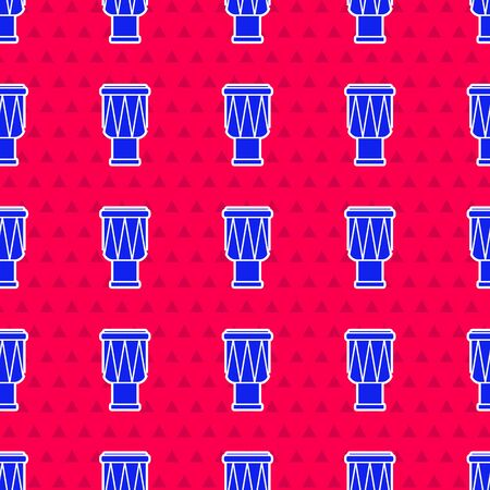 Blue Drum icon isolated seamless pattern on red background. Music sign. Musical instrument symbol. Vector Illustration