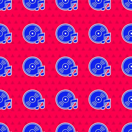 Blue Vinyl disk icon isolated seamless pattern on red background.  Vector Illustration