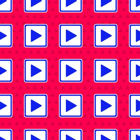 Blue Play in square icon isolated seamless pattern on red background.  Vector Illustration  イラスト・ベクター素材