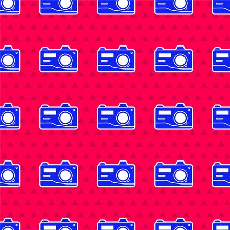 Blue Photo camera icon isolated seamless pattern on red background. Foto camera icon. Vector Illustration