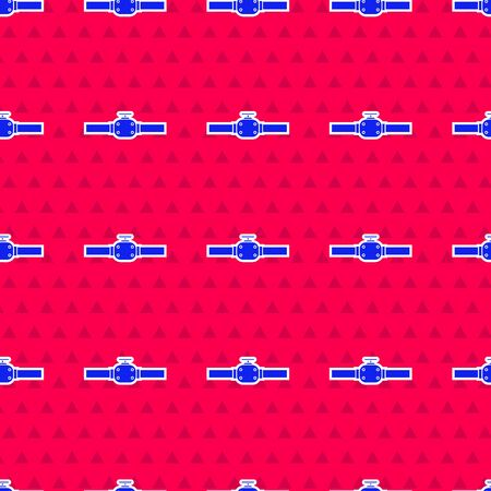 Blue Industry metallic pipes and valve icon isolated seamless pattern on red background. Vector Illustration Ilustrace