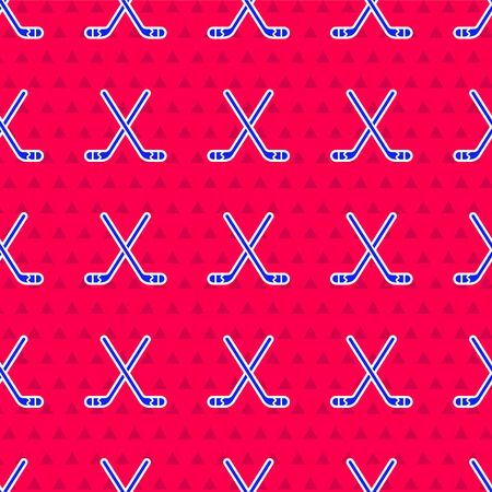 Blue Ice hockey sticks icon isolated seamless pattern on red background. Vector Illustration