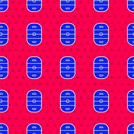 Blue Ice hockey rink icon isolated seamless pattern on red background. Hockey arena. Vector Illustration 일러스트