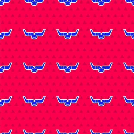 Blue Ice hockey sticks and puck icon isolated seamless pattern on red background. Game start. Vector Illustration