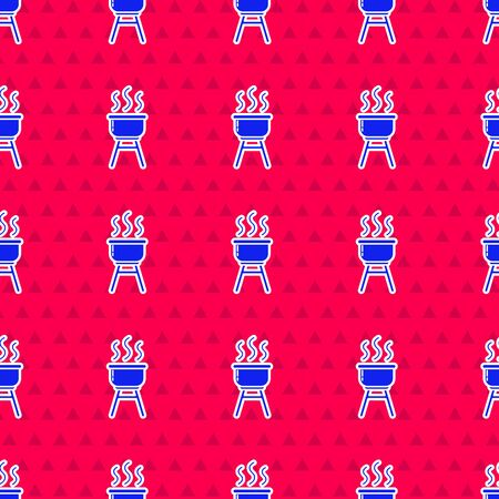 Blue Barbecue grill icon isolated seamless pattern on red background. BBQ grill party. Vector Illustration