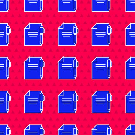 Blue Document and pen icon isolated seamless pattern on red background. File icon. Checklist icon. Business concept. Vector Illustration