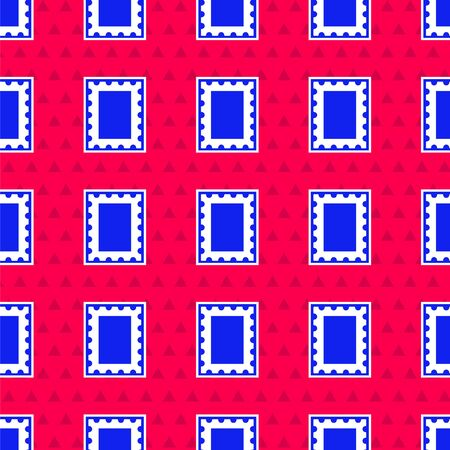 Blue Postal stamp icon isolated seamless pattern on red background. Vector Illustration 矢量图像
