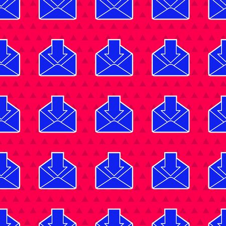 Blue Envelope icon isolated seamless pattern on red background. Received message concept. New, email incoming message, sms. Mail delivery service. Vector Illustration