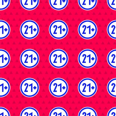 Blue 21 plus icon isolated seamless pattern on red background. Adults content icon. Vector Illustration 矢量图像