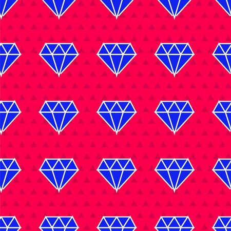 Blue Diamond icon isolated seamless pattern on red background. Jewelry symbol. Gem stone. Vector Illustration