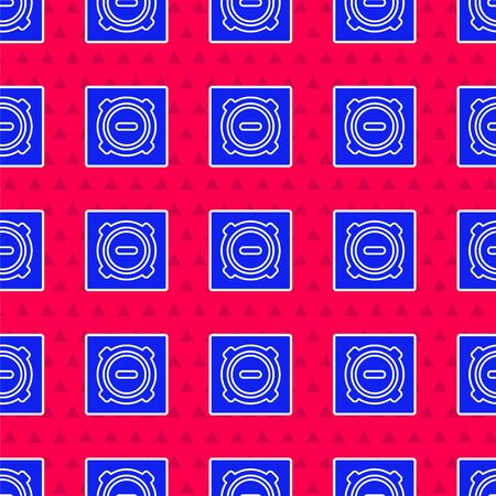 Blue Manhole sewer cover icon isolated seamless pattern on red background. Vector Illustration Stock Illustratie