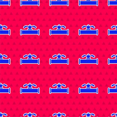 Blue Industry metallic pipe and valve icon isolated seamless pattern on red background. Vector Illustration