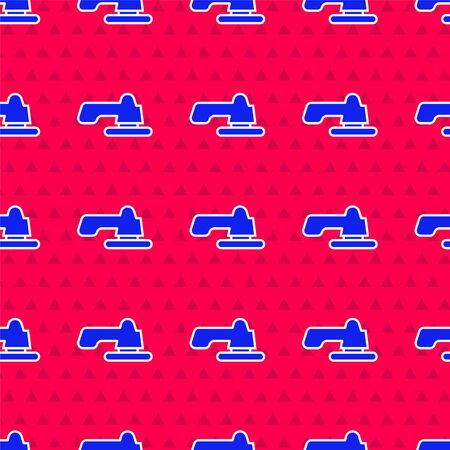 Blue Water tap icon isolated seamless pattern on red background. Vector Illustration