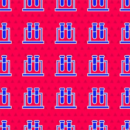 Blue Test tube and flask chemical laboratory test icon isolated seamless pattern on red background. Laboratory glassware sign. Vector Illustration  イラスト・ベクター素材