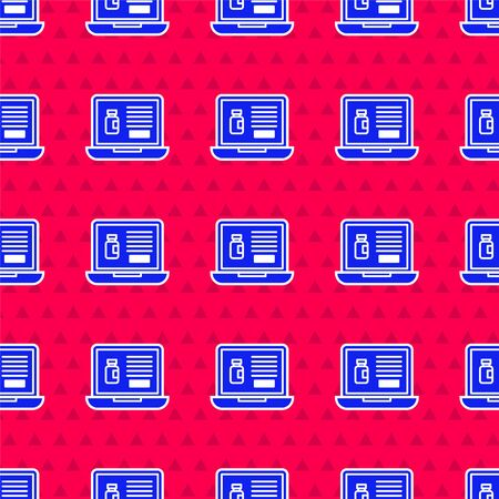 Blue Buying drugs online on laptop icon isolated seamless pattern on red background. Online buying symbol. Vector Illustration