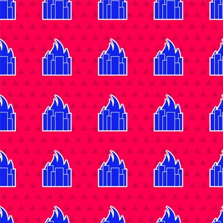 Blue Fire in burning buildings on city street icon isolated seamless pattern on red background. Destroyed city on fire. Vector Illustration