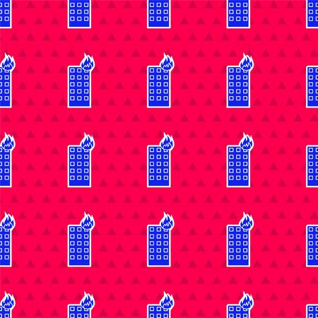 Blue Fire in burning building on city street icon isolated seamless pattern on red background. Vector Illustration Illustration