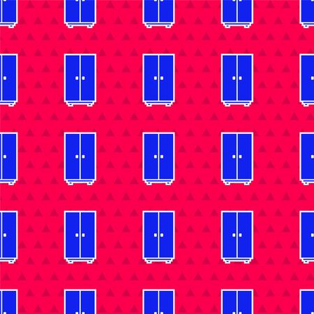 Blue Wardrobe icon isolated seamless pattern on red background. Vector Illustration