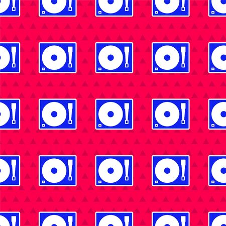 Blue Vinyl player with a vinyl disk icon isolated seamless pattern on red background. Vector Illustration