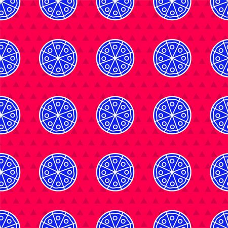 Blue Pizza icon isolated seamless pattern on red background. Fast food menu. Vector Illustration