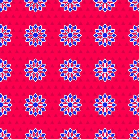 Blue Firework icon isolated seamless pattern on red background. Concept of fun party. Explosive pyrotechnic symbol. Vector Illustration